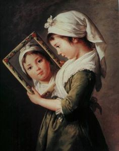 Julie Le Brun with a mirror, by Vigee Le Brun. Oil on panel. 1787