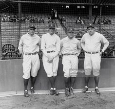 New York, NY- Here are the four Yankee players whose timely work with the bat have largely contributed to the successful baseball season of the New York Yankees in 1927, both financially and in standing. Left to right: Earl Combs, Bob Meusel, Lou Gehrig and Babe Ruth. ** BPA2 #4687 **