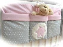 grosse Bett Tasche, Utensilo, hellgrau-rosa