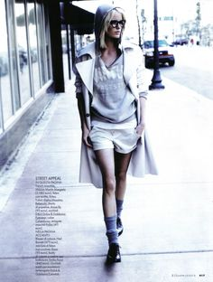 ♥: sweatshirt to trench to shorts to hair to socks