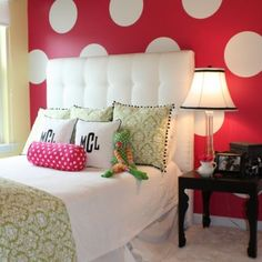 BOLD polka dot bedroom wall I would do every room in my house like this, if my husband didn't mind Teenage Girl Bedroom Designs, Girls Room Design, Teenage Girl Bedrooms, Girls Bedroom, Bedroom Ideas, Master Bedroom, Diy Bedroom, Childs Bedroom, Woman Bedroom