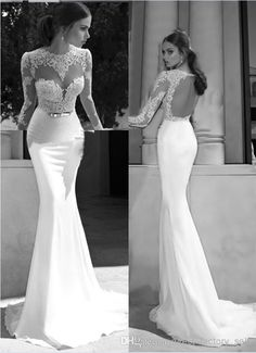 Wholesale cheap evening dresses online, 2014 spring summer - Find best berta 2014 new sheer illusion bateau open back applique gold sash sweep train mermaid backless evening dresses bridal gowns prom dresses at discount prices from Chinese evening dresses supplier on DHgate.com.