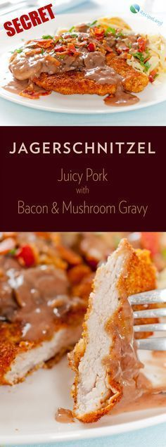 Secret Jagerschnitzel - German Hunter Schnitzel Pork or veal schnitzel with a mushroom sauce topped with bacon. Perfect for Oktoberfest or any time you are hankering for German fare. Veal Schnitzel, Pork Recipes, Cooking Recipes, Schnitzel Recipes, Austrian Recipes, German Recipes, Austrian Food, Bacon Stuffed Mushrooms, Gastronomia