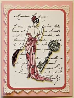 Frantic Stamper Happenings: Lady Collage Card (Linda Phinney)