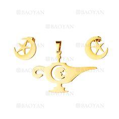juego colgante y aretes de lampara aladino y luna con estrella en acero dorado inoxidable -SSSTG954148