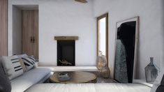Interior design of a family house in Mykonos. Beautiful Space, Beautiful Interiors, Beach House, Home And Family, Sweet Home, Lounge, Living Room, Interior Design, Architecture