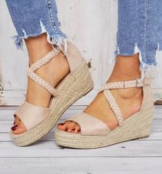 US$ 40.99 - Espadrilles Wedge Sandals Braided Strap Heel Sandals - www.joymanmall.com Espadrilles, Strap Heels, Wedge Sandals, Summer Sandals, Ankle Strap, Peep Toe, Baskets, Black Friday, Pointe Shoes