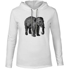 Mintage Elephant with a Flower Mens Fine Jersey Hooded T-Shirt