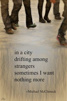 Tanka poem: in a city -- by Michael McClintock.