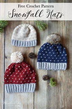 FREE Pattern: Crochet Snowfall Hat - The snowfall technique is easier than it looks! Pattern includes sizing from baby to adult.