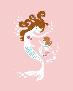 mermaid mother & daughter