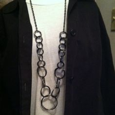 Long Gunmetal Circle Chain Long ( about 36 inches) of gunmetal chain. The bottom half is interlocking circles . Trendy,edgy fashion look! Jewelry Necklaces
