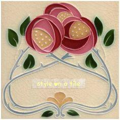 Details of a Mackintosh Rose Art Nouveau / Arts & Crafts Tile mac 8 from our range of Floral/Flowers/Foliage Mantels/Surrounds in the Art Nouveau style Art Nouveau Tiles, Art Nouveau Design, Arts And Crafts Movement, Mackintosh Design, Azulejos Art Nouveau, Jugendstil Design, Charles Rennie Mackintosh, Vintage Tile, Antique Tiles