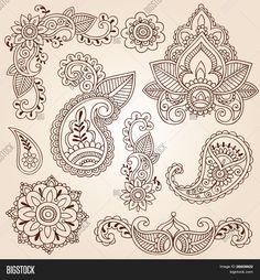 Henna Mehndi Doodles Abstract Floral Paisley Design Elements, Mandala, and Page Corner Design Vector Illustration