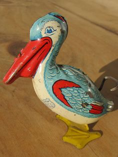 Vintage Tin Litho J Chein Wind Up Toy Pelican | eBay
