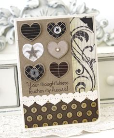 Handmade Card: Friendship. Brown and punched out hearts!
