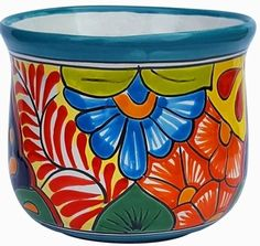 Talavera Flair Tulipan Turquoise Rim - We have beautiful pottery, terracotta pots and ollas for your home and garden. We ship our handcrafted pottery directly to you. Shop Arizona Pottery now! Painted Clay Pots, Painted Flower Pots, Hand Painted, Rim, Talavera Pottery, Terracotta Pots, Unique Colors, Garden Bulbs, Garden Terrarium