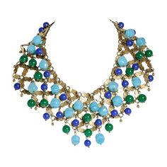 1950s French Unsigned Francoise Montague Murano Glass Bead Necklace