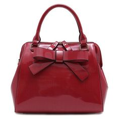 Bowknot PU Leather Tote Bag (23 CAD) ❤ liked on Polyvore featuring bags, handbags, tote bags, red tote, pu leather handbags, tote bag purse, red purse and tote purses