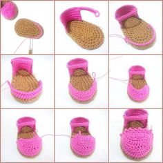 Baby Espadrilles Free Pattern Bebek Espadril Yapımı Not in English good pictures though Discover thousands of images about Crochet Baby Espadrilles Free Pattern Billedresultat for espadrilles boots tutorial If you have a baby you should read this artic Crochet Diy, Love Crochet, Crochet For Kids, Crochet Dolls, Crochet Baby Sandals, Booties Crochet, Crochet Baby Clothes, Crochet Shoes, Baby Booties