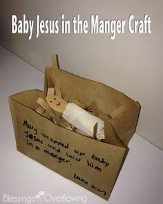 Sunday School Crafts: Baby Jesus in the Manger Here is a simple craft to help children remember the story of how baby Jesus was born.<br> Here is a simple craft to help children remember the story of how baby Jesus was born. Christmas Sunday School Lessons, Sunday School Crafts For Kids, Bible School Crafts, Bible Story Crafts, Sunday School Activities, Preschool Christmas, Christmas Crafts For Kids, Preschool Crafts, Bible Stories