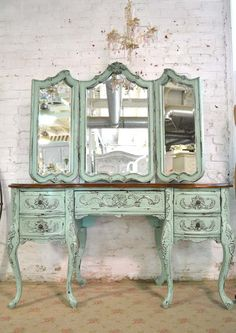 Etsy Painted Cottage Chic Shabby Romantic French Vanity and Mirror