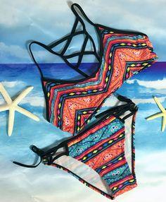 Azbro's Fashion Summer Two Piece Print Bikini Swimwear Set