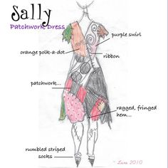 Sally Nightmare Before Christmas Costume for Halloween by liluxe, this sketch shows what each patch is. Disney Halloween, Sally Halloween Costume, Halloween Kostüm, Halloween Cosplay, Holidays Halloween, Homemade Halloween, Sally Nightmare Before Christmas, Jack And Sally Costumes, Sally Skellington