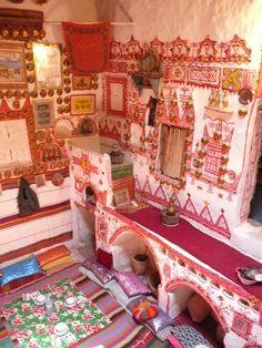 Interior decoration, traditional Ghadames house Vernacular Architecture, Ancient Architecture, Art And Architecture, Ethnic Decor, Bohemian Decor, Arte Popular, Life Design, Miniature Furniture, Beautiful Buildings