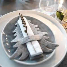 Grey Felt Tree Shaped Christmas Napkin Holders - table decorations