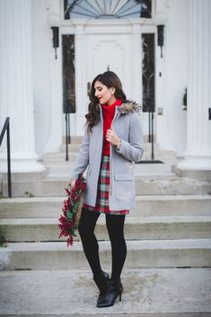 red turtleneck, plaid skirt, j.crew factory holiday, j.crew vail parka, holiday outfit ideas, holiday sales, holiday look, preppy holiday outfit ideas // grace wainwright from a southern drawl
