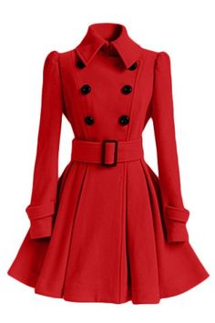 Women's Chic Belt Long Sleeve Winter Coat Dress Coats | RoseGal.com Mobile