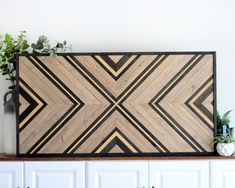 One-of-a-kind handcrafted wood wall art, perfect for a mantle, above a sofa, a tall stairway wall, or wherever it fits. Measures x and configured to hang either direction or stand on the floor or a console! Wood Wall Art Decor, Reclaimed Wood Wall Art, Wooden Wall Art, Diy Wall Art, Diy Wood, Wood Mosaic, Mosaic Wall Art, Wood Plank Art, Herringbone Wall