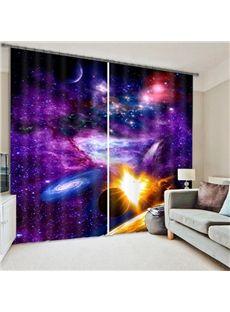 Splendid 3D Galaxy Print Room Darkening Curtain
