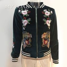 Embroidered velvet bomber jacket women Casual Coat tiger rose Outerwear Trendy Jacket