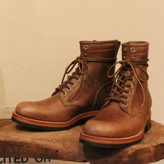 MOTOR CHROMEXCEL LEATHER LACE UP BOOTS NATURAL