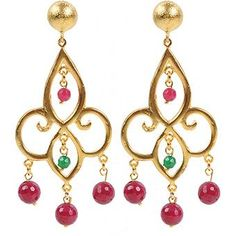 JewelEver Ruby & Jade Drop Earring - House of Fraser