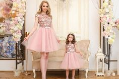 Mother Daughter Dress  Pink Sequin Tulle Dress  by HIRAetMIRA