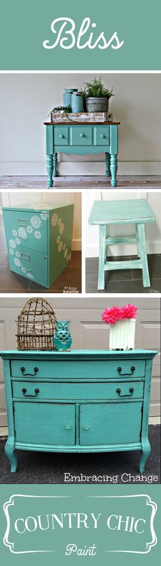 Stop by our blogs to see some of our favorite examples of this stunning, muted turquoise color, Bliss! http://www.countrychicpaint.com/blog/color-inspiration-mondays-bliss/ #furniturepainting #colorinspiration #bliss