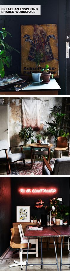 Create an inspiring shared workspace with IKEA ideas! Two bloggers created their perfect shared workspace in a former pub in Berlin, complete with shelves to display their work, to a leafy breakout area where they can take time out and a group working space where they can share ideas with each other. Photography by Polly Wreford. Styling by Abigail Edwards.