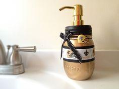 New Orleans Saints Soap Dispenser Mason Jar By Queenbeader