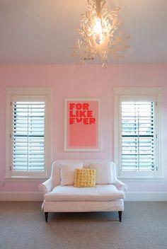 Kara Shurtliff: Sweet pink girl's room with pale pink walls and plantation shutters. Teen girl's bedroom ...