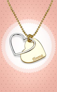 If you want a gift that's personal and special, our two tone heart necklace is your answer.You can engrave a single name on the 18k Gold Plated Sterling Silver heart pendant. As a separate pendant is a delicate heart outline made of Sterling Silver. It offers the perfect accent to the gold plated heart and makes the pendant stand out all the more! Mark your special day with a loved one or your closest girlfriends and bridesmaids <3