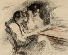 LEONID PASTERNAK  -  The artist's daughters, Lydia and Josephine, reading  Moscow 1916; black and red chalks on paper.