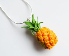 Miniature Pineapple Necklace Fimo Polymer by SweetnNeatJewellery, £8.00
