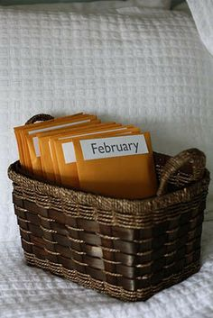 Pre-planned date nights. He chooses 6 dates and I choose 6 dates. Put them in envelopes and go on one a month. Awesome idea! :) then put them in a date night basket.