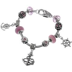 RUBYCA Pink Charm Bracelet Anchor Silver Tone Snake Chain 7.9 In. BFF Charm Bracelet ❤ Comes with RUBYCA Gift Box. Bracelet Material: Copper ❤ Charm Bead Material: Glass, Crystal & Alloy. Size: 7.9 Inches (20cm). RUBYCA Charm Beads are Interchangeable with all Major Brand Charm Beads. RUBYCA 60 Days Manufacture Warranty - Check Description for Details.