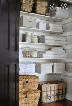 8 Linen Closet Storage Hacks to Help You Stay Organized How to Add Storage in a Linen Closet hallway closet organization Bathroom Closet Organization, Home Organisation, Organization Ideas, Bathroom Storage, Closet Storage Bins, Storage Baskets, Open Bathroom, Bathroom Ideas, Linen Closet In Bathroom