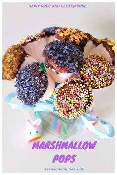 Simple recipe for Marshmallow Pops, Perfect dessert or treat or home made gift for kids. Dairy Free, Lactose Free and Gluten Free. Gluten Free Marshmallows, Recipes With Marshmallows, Chocolate Marshmallows, Chocolate Garnishes, Chocolate Desserts, Dairy Free Recipes For Kids, Cake Pop Sticks, Savory Snacks, Snack Recipes