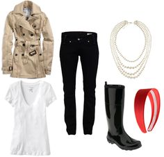 Fashionable yet functional rainy day outfit! Super cute outfit!